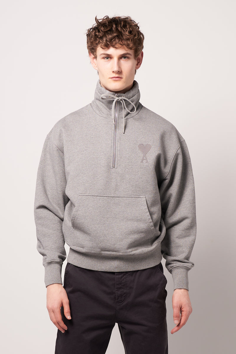 High Zipped Collar Sweat Heather Grey