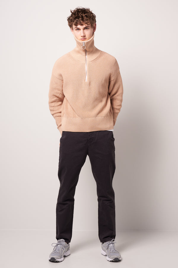 Zipped Collar Boxy Jumper Nude