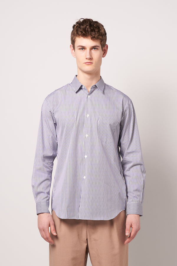 Mens Striped Shirt Dark Blue