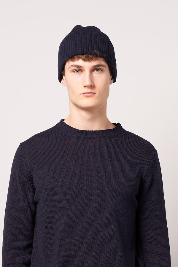 Merino Wool Beanie Navy Blue