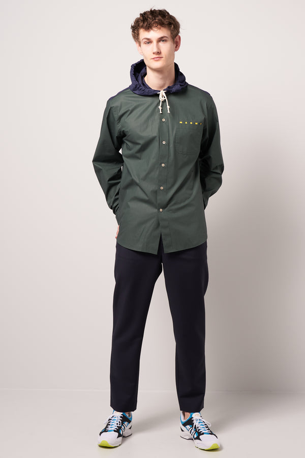 Hooded Overshirt Green & Navy