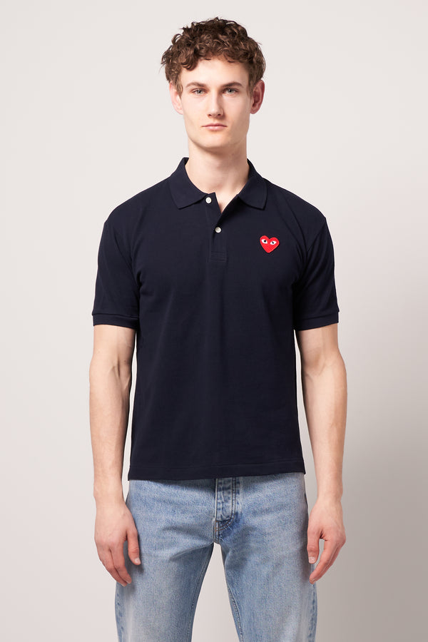 Red Heart Polo Shirt Navy