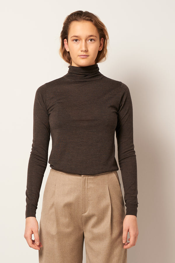 Merino Turtleneck Dark Brown Melange