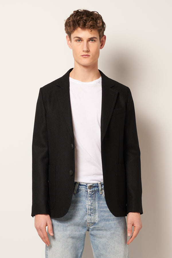 Two Button Patch Pocket Jacket Black