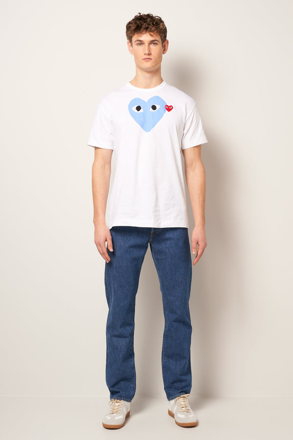 Blue Heart T-Shirt White