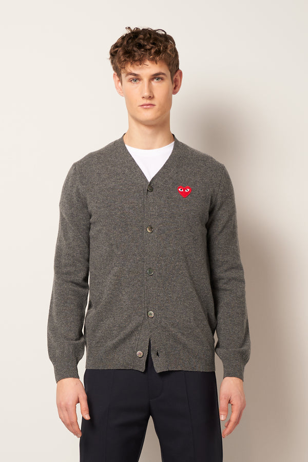 Red Heart Cardigan Grey