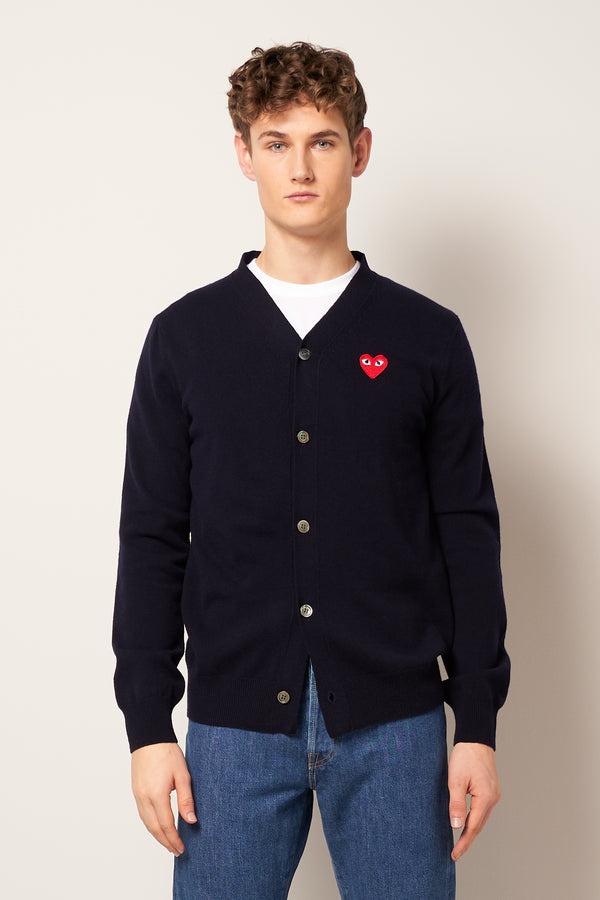 Red Heart Cardigan Navy