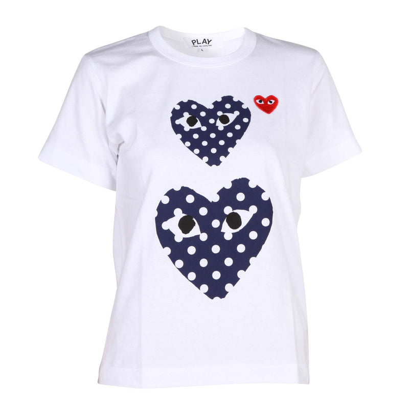 Polka Dot Heart Print Ladies T-shirt White
