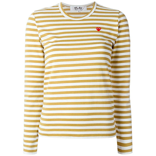 Striped Small Heart Ladies LS T-shirt Olive
