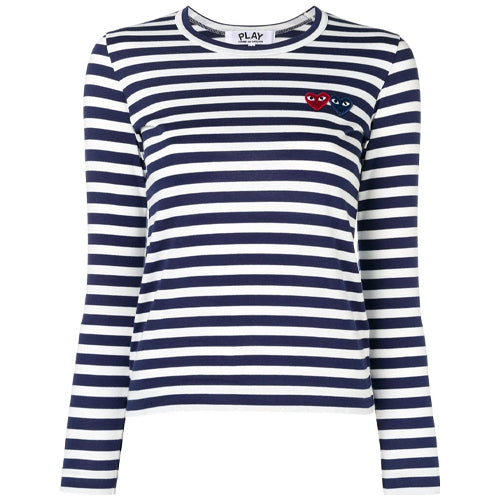 Striped Double Heart LS T-shirt Ladies Navy