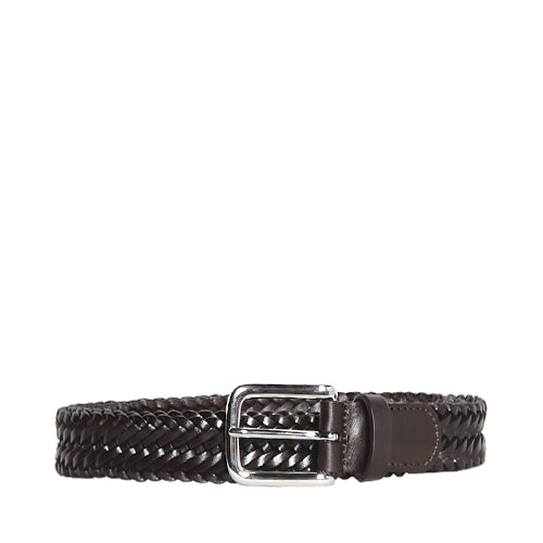 Woven Leather Belt Dark Brown