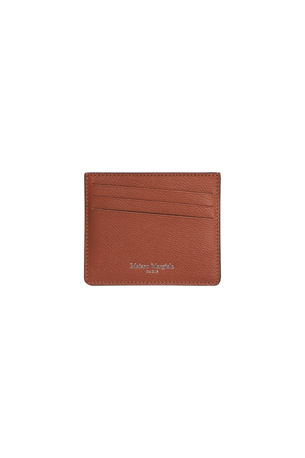 Grainy Leather Card Holder Brown