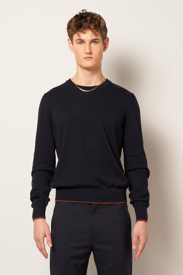 Elbow Patch Pullover Navy