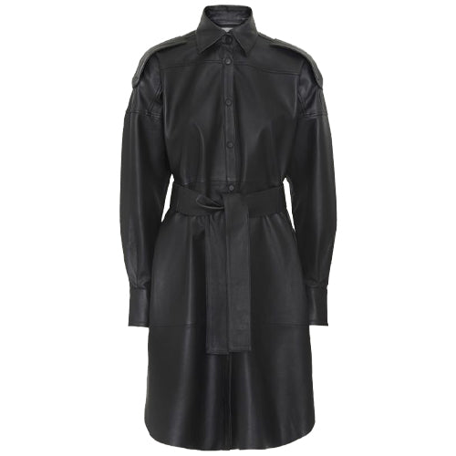 Lavare LS Leather Dress Black