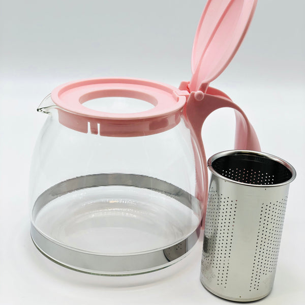 Group Serve Glass Tea Pot with Infuser, Pink
