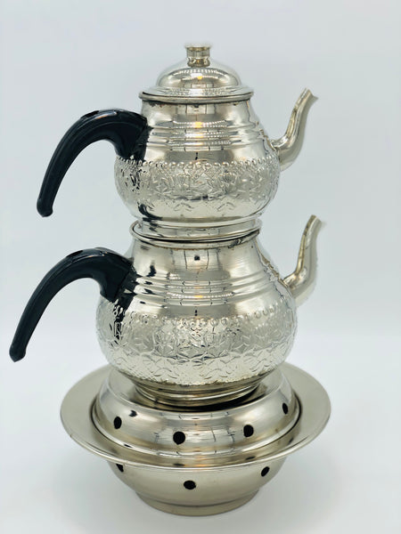 Silver Coloured Copper Double Tea Pot
