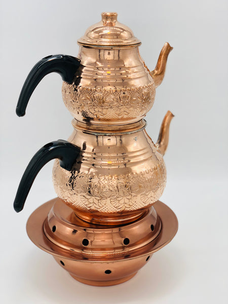 Copper Double Tea Pot with Tea Warmer