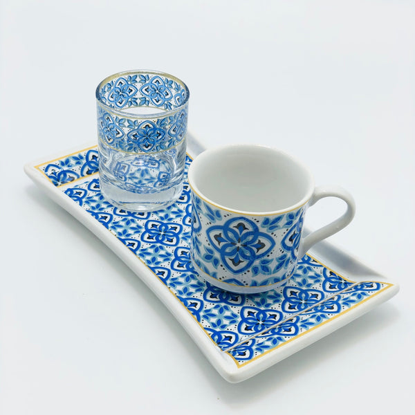"One Person Turkish Coffee Set ""Blue Mallow Flower"""