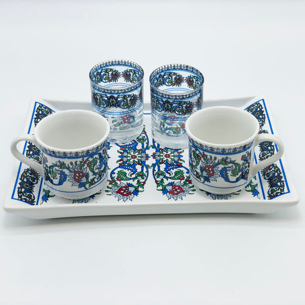 "Two Person Turkish Coffee Set ""Blue Clove"""