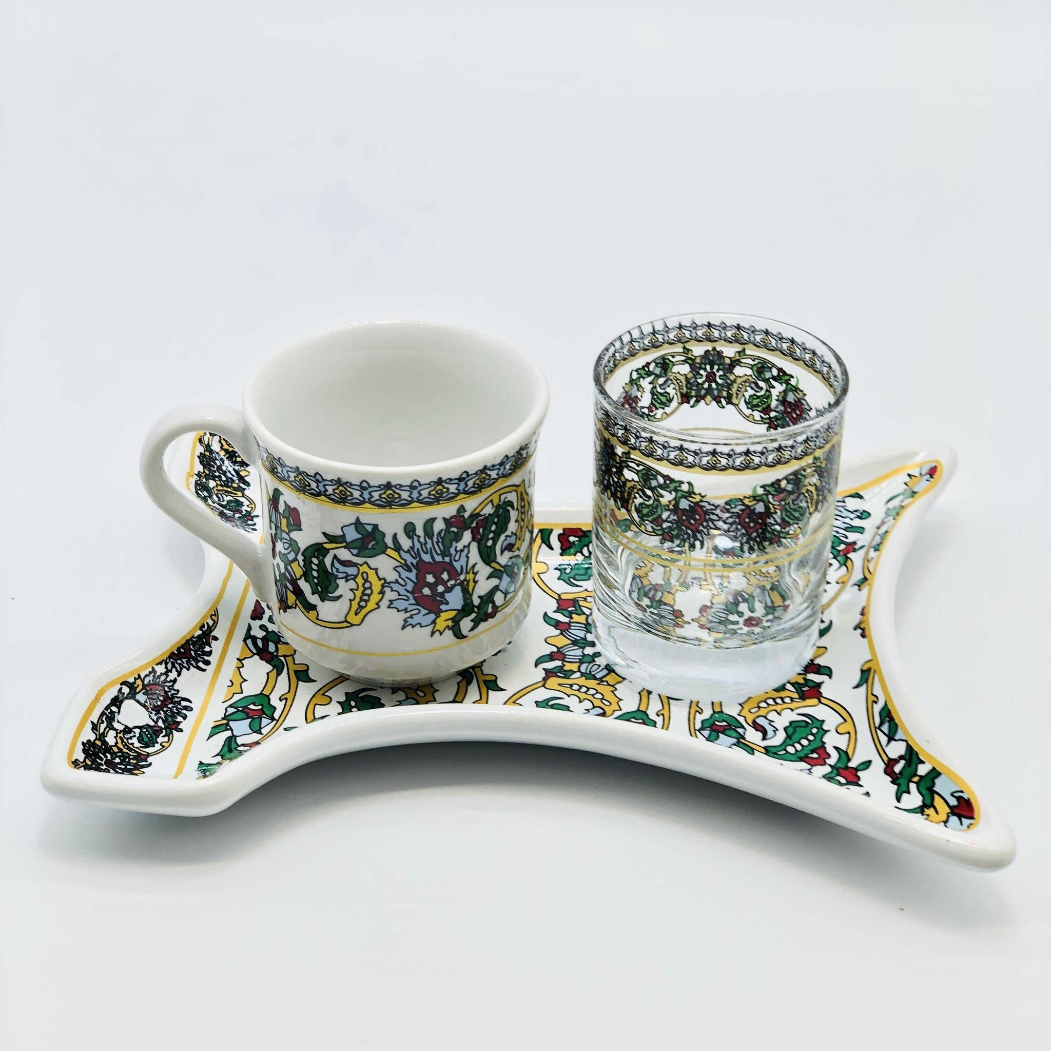 "One Person Turkish Coffee Set ""Turquoise Clove Kaftan"""