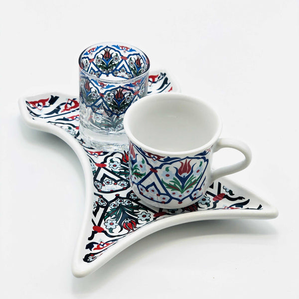 "One Person Turkish Coffee Set ""Red Tulip Kaftan"""
