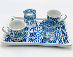 "Two Person Turkish Coffee Set ""Blue Mallow"""