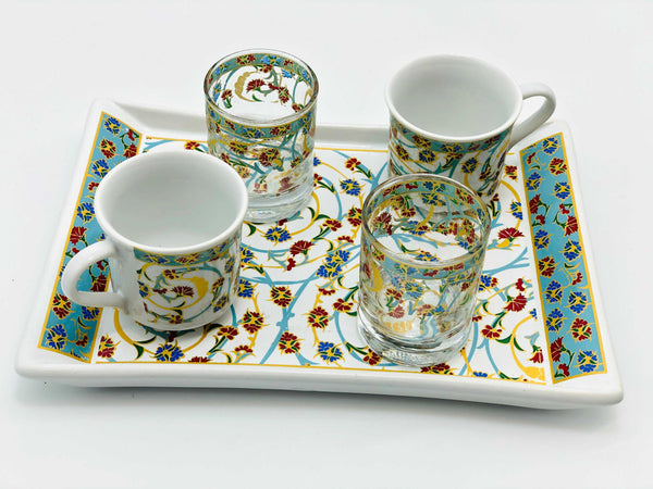 "Two Person Turkish Coffee Set ""Red and Blue Clove"""