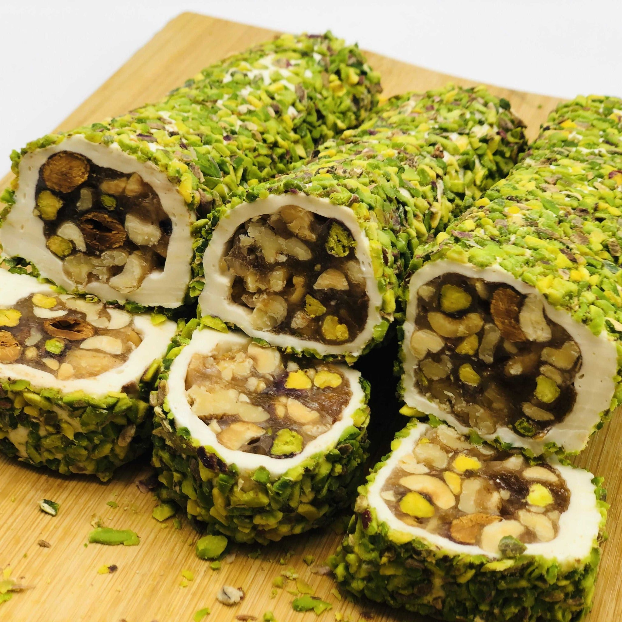 Turkish Delight - Honey, Milk and Mixed Nuts covered in Sliced Pistachio