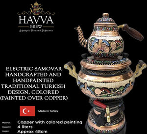 Electric Samovar - Handcrafted and Handpainted Traditional Turkish Design, Colored (painted over copper)
