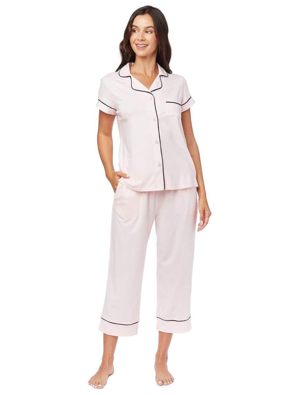 Pima cotton knit Capri set ( pink moment) Cat's pajamas