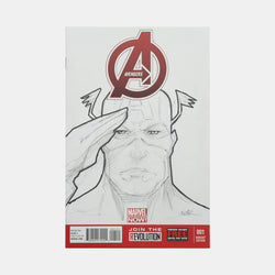 Avengers: Captain America Sketch Cover Original Art Framed by Andres Manuel Labrada