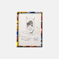 "Batman Sketch ""Bats Wishes Always"" Signed by Bob Kane Framed - worldofsuperheroesuk"
