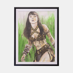 Xena Original Art Framed by Becky Knapp - worldofsuperheroesuk