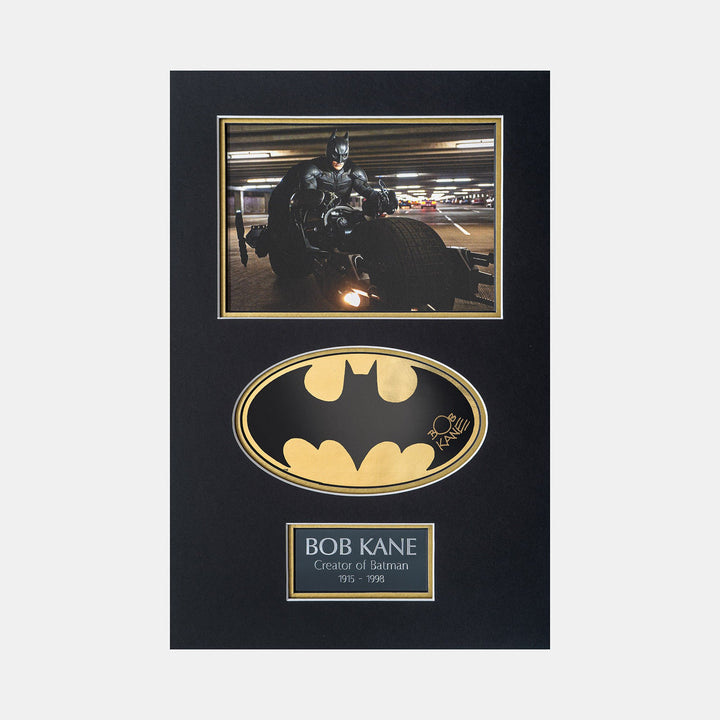Batman Gold Foil Sicker Signed by Bob Kane (Creator of Batman) Mini print Batman begins bike scene