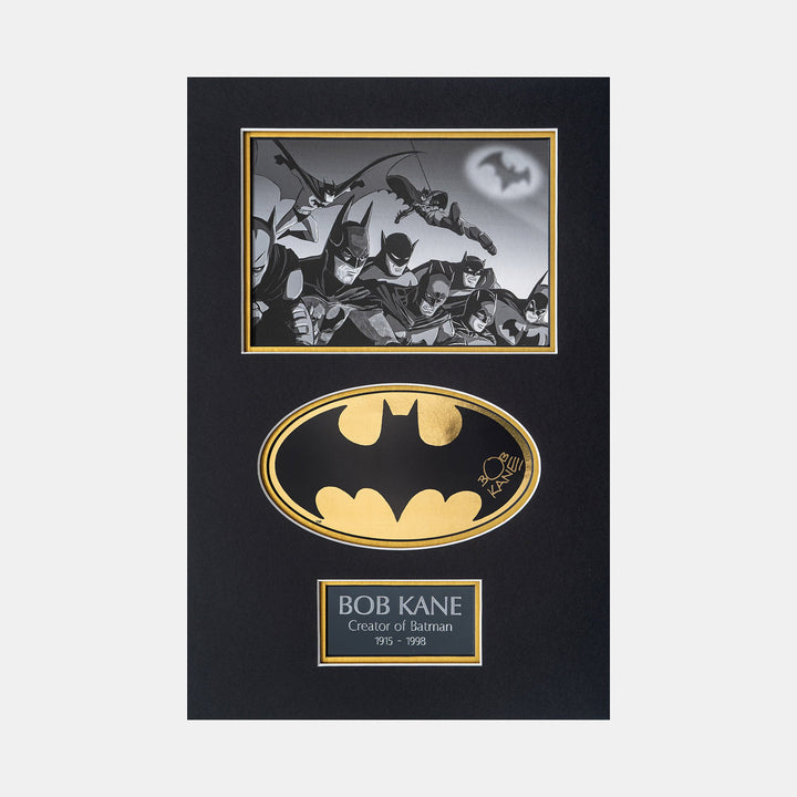 Batman Gold Foil Sicker Signed by Bob Kane (Creator of Batman) Mini print team Batman