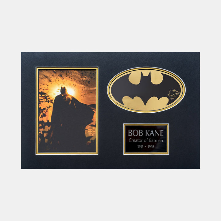 Batman Gold Foil Sicker Signed by Bob Kane (Creator of Batman) Mini Batman Begins print