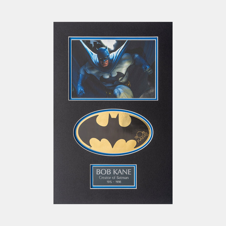 Batman Gold Foil Sicker Signed by Bob Kane (Creator of Batman) Mini illustrated Batman blue and grey suit print
