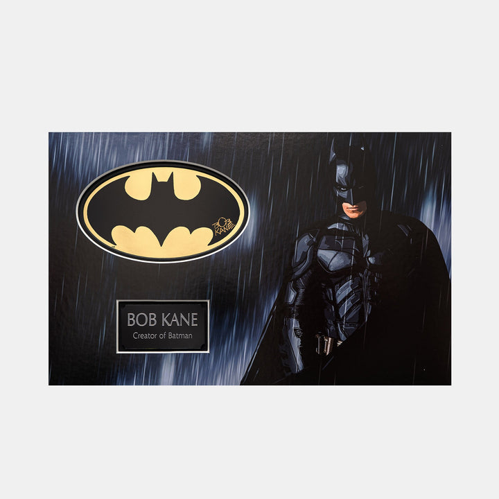 Batman Gold Foil Sicker Signed by Bob Kane (Creator of Batman) Christian Bale Rain Scene