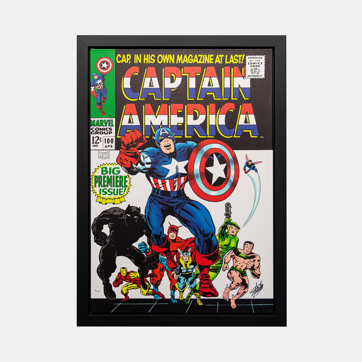 Stan Lee Signed: Captain America #100 Big Premiere Issue! Box Canvas Framed - worldofsuperheroesuk