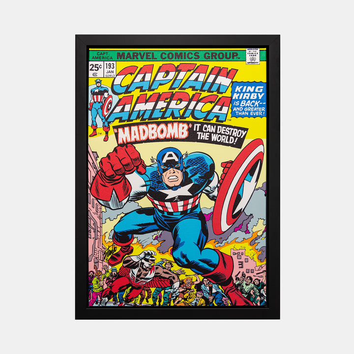 Stan Lee Signed: Captain America #193 Madbomb Box Canvas Framed - worldofsuperheroesuk