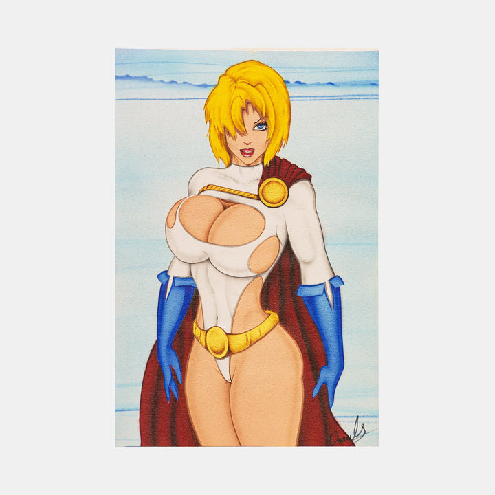"Power Girl Classic Pose Original Art Framed by Darrel ""Cups"" O'Riley - worldofsuperheroesuk"