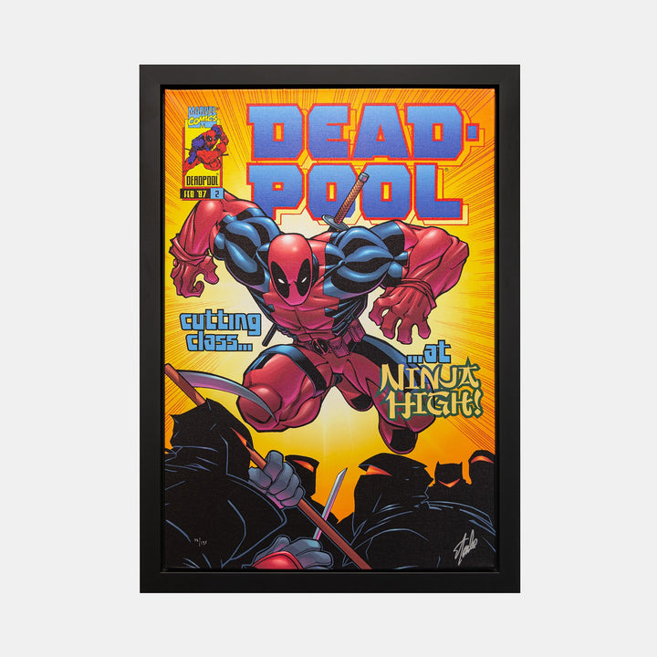 Stan Lee Signed: Dead Pool #2 Cutting Class at Ninja High Box Canvas Framed - worldofsuperheroesuk