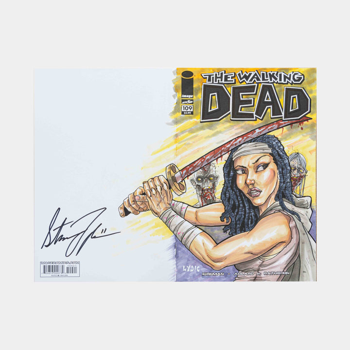 Michonne Behind You! Walking Dead Wraparound Sketch Cover Original Art Framed by Steve Lydic - worldofsuperheroesuk