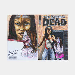 Michonne and the Governors Daughter Walking Dead Wraparound Sketch Cover Original Art Framed by Steve Lydic - worldofsuperheroesuk