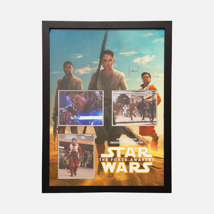 Star Wars: Montage of Photos Signed By Daisy Ridley, John Boyega and Oscar Isaac Framed - worldofsuperheroesuk