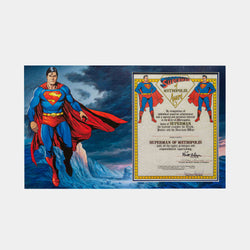 Superman: Superman of Metropolis Award Signed By Siegel and Shuster - worldofsuperheroesuk