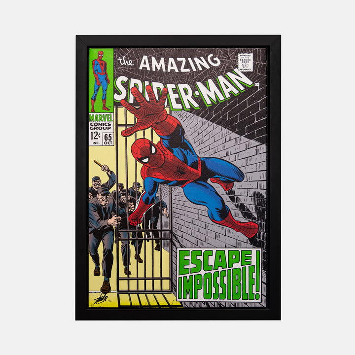 Stan Lee Signed: The Amazing Spider-Man #65 Escape Impossible Box Canvas Framed - worldofsuperheroesuk