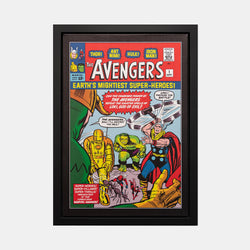 Stan Lee Signed: The Avengers #1 Earths Mightiest Super-Heroes! Box Canvas Framed - worldofsuperheroesuk
