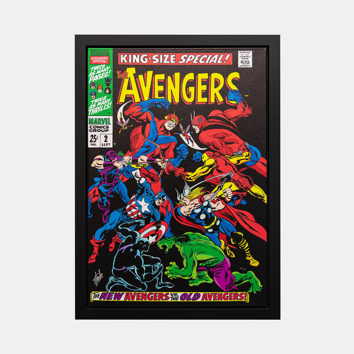 Stan Lee Signed: The Avengers-King Size Special #2 Box Canvas Framed - worldofsuperheroesuk