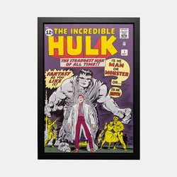 Stan Lee Signed: The Incredible Hulk #1 The Strongest Man of All Time! Box Canvas Framed - worldofsuperheroesuk